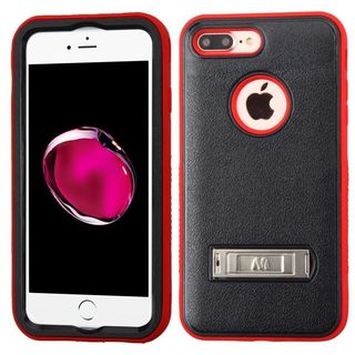 Insten Black/ Red Hard PC/ Silicone Dual Layer Hybrid Matte Case Cover with Stand For Apple iPhone 7 Plus