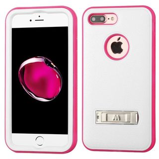 Insten White/ Hot Pink Hard PC/ Silicone Dual Layer Hybrid Matte Case Cover with Stand For Apple iPhone 7 Plus