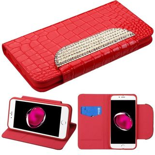 Insten Red Leather Crocodile Skin Case Cover with Stand/ Wallet Flap Pouch/ Diamond For Apple iPhone 7 Plus