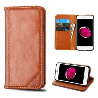 Insten Brown Genuine leather Fabric Case Cover with Stand/ Card Slot For Apple iPhone 7 Plus