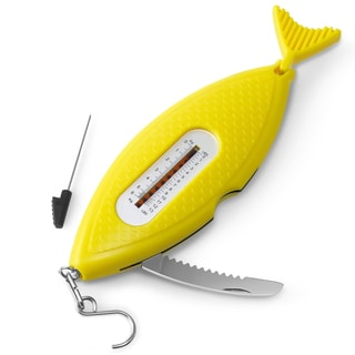 INNOKA Yellow Fish Portable 5-in-1 Multi-Tool with Serrated Knife/ Fish Scraper/ 3-feet Tape Measure for Fishing