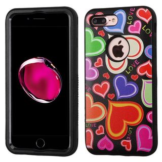 Insten Colorful/ Black Hearts Verge Hard PC/ Silicone Dual Layer Hybrid Rubberized Matte Case Cover For Apple iPhone 7 Plus