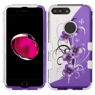 Insten Purple/ White Twilight Petunias Tuff Hard PC/ Silicone Dual Layer Hybrid Case Cover For Apple iPhone 7 Plus