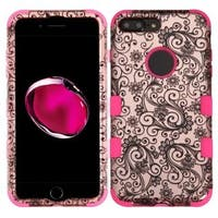 Insten Rose Gold/ Black Four-leaf Clover Tuff Hard PC/ Silicone Dual Layer Hybrid Case Cover For Apple iPhone 7 Plus