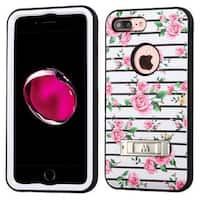 Insten Pink/ White Fresh Roses Verge Hard PC/ Silicone Dual Layer Hybrid Case Cover with Stand For Apple iPhone 7 Plus