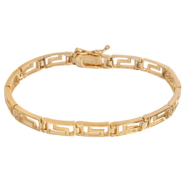 248c098fc Shop Mondevio 18k Gold over Silver Greek Key Link Bracelet - On Sale ...
