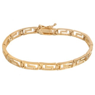 Mondevio 18k Gold over Silver Greek Key Link Bracelet