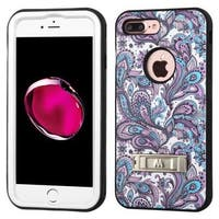 Insten Purple/ White European Flowers Verge Hard PC/ Silicone Dual Layer Hybrid Case Cover with Stand For Apple iPhone 7 Plus