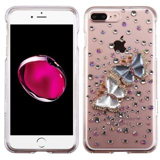 Insten Clear/ Blue 3D Butterfly Lovers Hard Snap-on Crystal Case Cover with Diamond For Apple iPhone 7 Plus