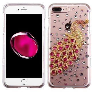 Insten Clear/ Hot Pink 3D Peacock Hard Snap-on Crystal Case Cover with Diamond For Apple iPhone 7 Plus