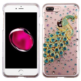 Insten Clear/ Turquoise 3D Peacock Hard Snap-on Crystal Case Cover with Diamond For Apple iPhone 7 Plus