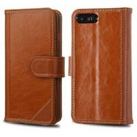 Insten Brown Genuine leather Fabric Case Cover with Stand/ Card Slot/ Photo Display For Apple iPhone 7 Plus
