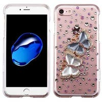 Insten Clear/ Blue 3D Butterfly Lovers Hard Snap-on Crystal Case Cover with Diamond For Apple iPhone 7