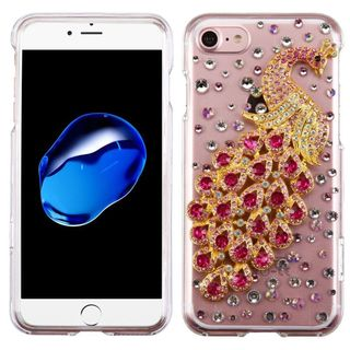 Insten Clear/ Hot Pink 3D Peacock Hard Snap-on Crystal Case Cover with Diamond For Apple iPhone 7