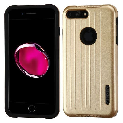 Insten Gold/ Black Hard PC/ Silicone Dual Layer Hybrid Rubberized Matte Case Cover For Apple iPhone 7 Plus