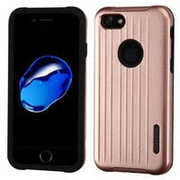 Insten Rose Gold/ Black Hard PC/ Silicone Dual Layer Hybrid Rubberized Matte Case Cover For Apple iPhone 7
