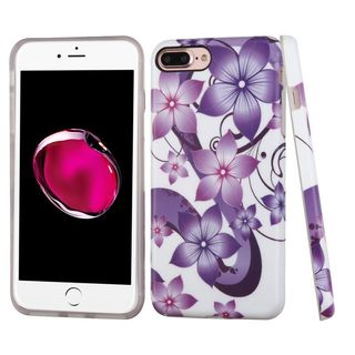 Insten Purple/ White Hibiscus Flower Romance TPU Rubber Candy Skin Case Cover For Apple iPhone 7 Plus