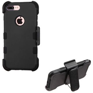 Insten Black Hard PC/ Silicone Dual Layer Hybrid Rubberized Matte Case Cover with Holster For Apple iPhone 7 Plus