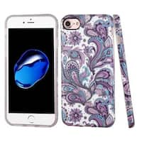 Insten Purple/ White European Flowers TPU Rubber Candy Skin Case Cover For Apple iPhone 7