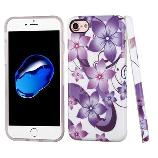 Insten Purple/ White Hibiscus Flower Romance TPU Rubber Candy Skin Case Cover For Apple iPhone 7