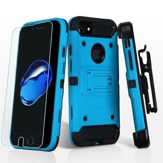Insten Blue/ Black Hard Snap-on Dual Layer Hybrid Case Cover with Stand/ Holster/ Screen Protector For Apple iPhone 7