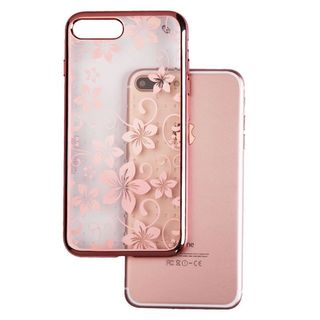 Insten/ Rose Gold Hibiscus Flower Romance TPU Rubber Candy Skin Case Cover For Apple iPhone 7 Plus