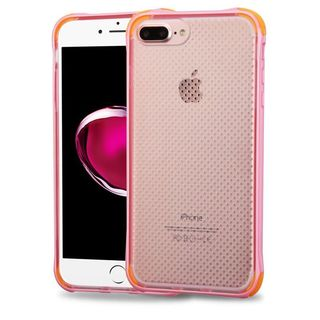 Insten Pink/ Orange TPU Rubber Candy Skin Case Cover For Apple iPhone 7 Plus