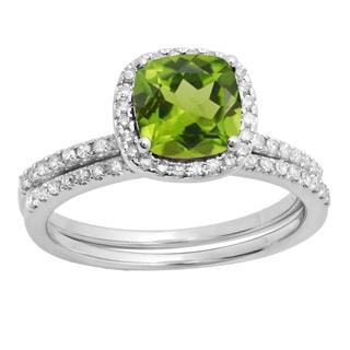 10k Gold 1 3/4ct TW Cushion-cut Peridot and White Diamond Accent Engagement Ring Set (H-I, I1-I2 )