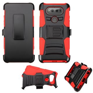 Insten Black/ Red Hard PC/ Silicone Dual Layer Hybrid Case Cover with Stand/ Holster For LG V20