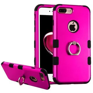 Insten Hot Pink/ Black Hard PC/ Silicone Dual Layer Hybrid Rubberized Matte Case Cover with Ring stand For Apple iPhone 7 Plus