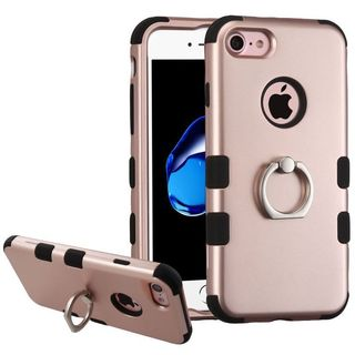 Insten Rose Gold/ Black Hard PC/ Silicone Dual Layer Hybrid Rubberized Matte Case Cover with Ring stand For Apple iPhone 7