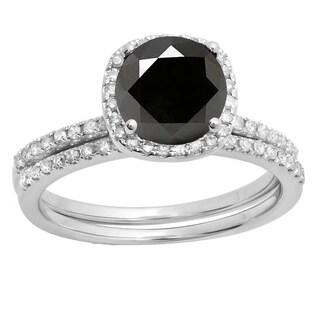 10k Gold 1 3/4ct TDW Round-cut Black and White Diamond Bridal Ring Set (I-J, I1-I2)