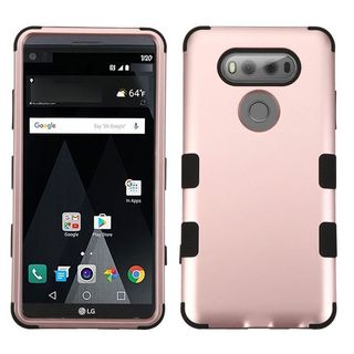 Insten Rose Gold/ Black Hard PC/ Silicone Dual Layer Hybrid Rubberized Matte Case Cover For LG V20