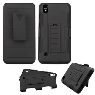 Insten Black Hard PC/ Silicone Dual Layer Hybrid Case Cover with Stand/ Holster For LG Tribute HD/ X STYLE