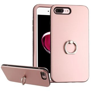 Insten Rose Gold/ Black Hard PC/ Silicone Dual Layer Hybrid Rubberized Matte Case Cover with Ring stand For Apple iPhone 7 Plus
