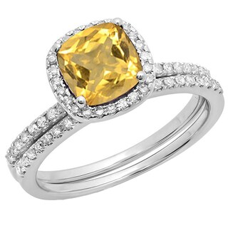 10k Gold 1 3/4ct TW Round-cut Citrine and White Diamond Accent Engagement Ring Set (I-J, I1-I2)