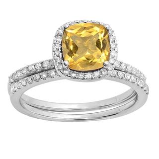 14k Gold 1 3/4ct TW Round-cut Citrine and White Diamond Halo Engagement Ring Set (I-J, I1-I2 )