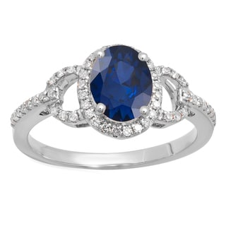 14k Gold 1 3/8ct TW Oval-cut Blue Sapphire and Round-cut Diamond Accent Engagement Ring (I-J, I1-I2)