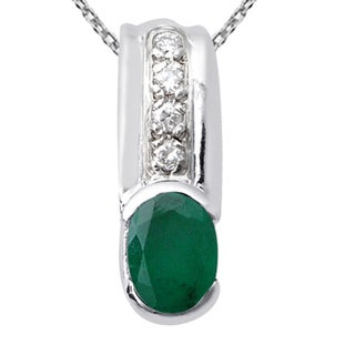 Orchid Jewelry 925 Sterling Silver 1 1/3 Carat Emerald and Cubic Zirconia Necklace