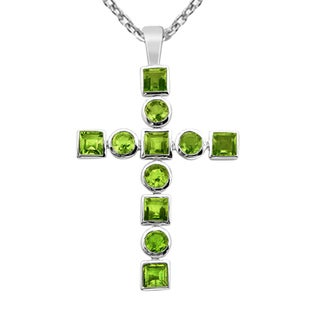 Orchid Jewelry 925 Sterling Silver 5 Carat Peridot Cross Necklace