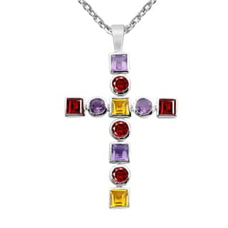 Orchid Jewelry 925 Sterling Silver 4 2/3 Carat Amethyst, Garnet and Citrine Cross Necklace|https://ak1.ostkcdn.com/images/products/14005521/P20627534.jpg?impolicy=medium
