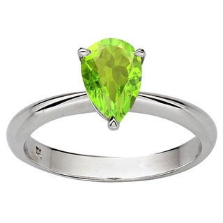 Sterling Silver 1ct TW Pear-cut Peridot Solitaire Bridal Engagement Ring