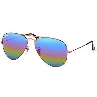 Ray-Ban RB 3025 9019C2 Classic Bronze Copper Metal Aviator Sunglasses Blue Rainbow Flash Mirror Lens