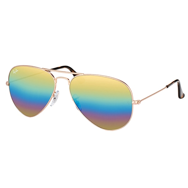 6102323ac8 Ray-Ban RB 3025 9020C4 Classic Bronze Copper Metal Aviator Sunglasses Gold Rainbow  Flash Mirror