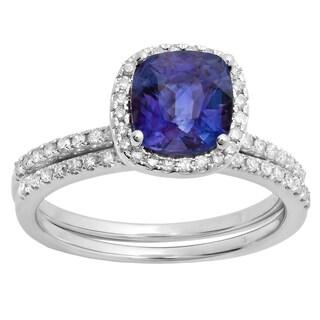 10K White Gold 1 3/4 CT. Cushion Blue Sapphire & Round White Diamond Bridal Halo Engagement Ring Band Set (H-I,Blue & I1-I2)