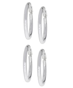 Mondevio Sterling Silver Clip-on Hoop Earrings (2 Pairs)