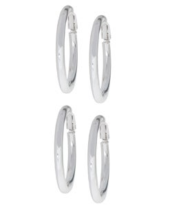 Mondevio Sterling Silver Clip Hoop Earrings Set (Two Pair)