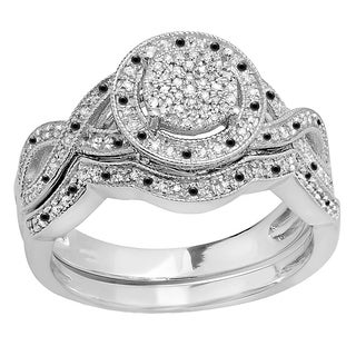 Sterling Silver 1/2ct TDW Round Black and White Diamond Micro Pave Engagement Ring Set (I-J, I2-I3)