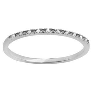 14k White Gold 1/10ct TDW Black and White Diamond Dainty Wedding Ring (I-J, I2-I3)