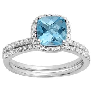 10k White Gold 1 3/4ct TW Cushion-cut Blue Topaz and White Diamond Bridal Band Set (H-I)